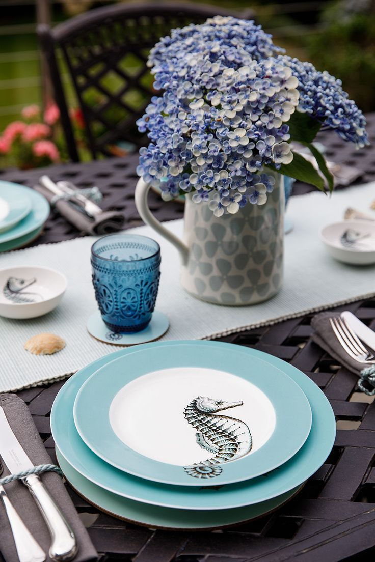 Jersey Pottery Neptune Seahorse tableware #JerseyPottery #ceramics #Neptune #seahorse