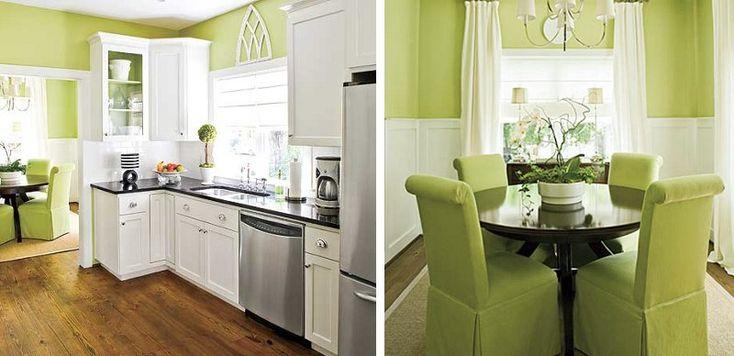 cocina y comedor verde