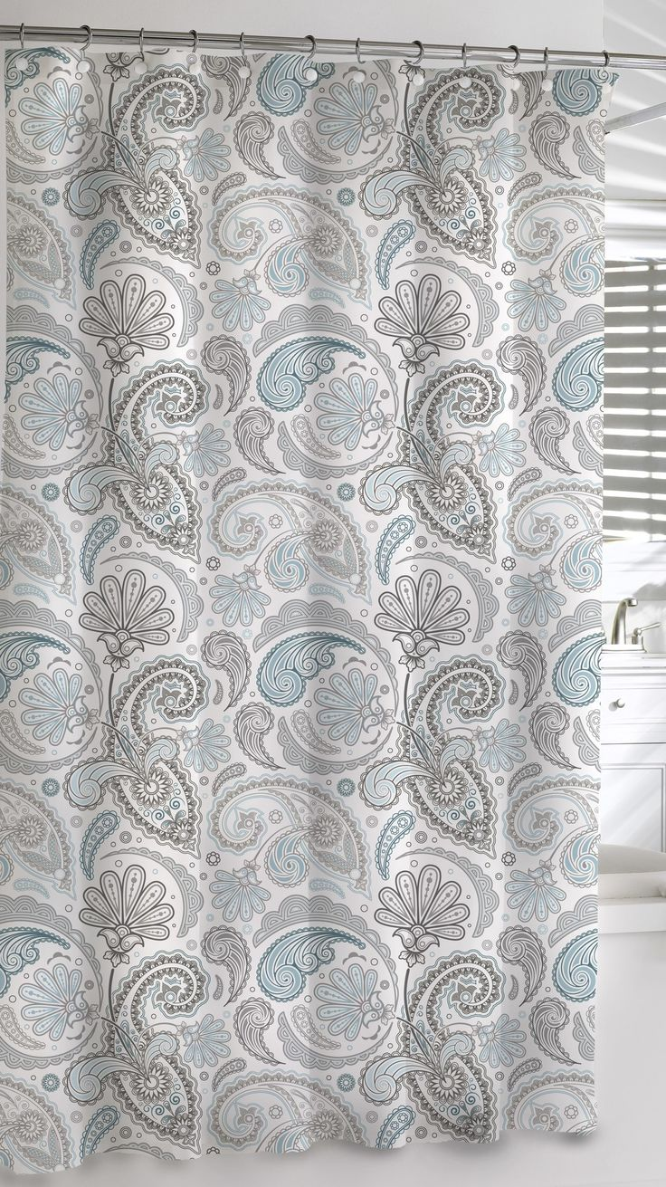 Features:  -Material: 100% Cotton.  -Design: Paisley.  -Machine Washable, see sewn label for care instructions..  -Use of vinyl liner is recommended.  Product Type: -Shower curtain.  Material: -100% C