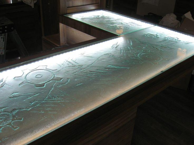 Comptoirs en verre fusion / thermoformage créations sur mesure