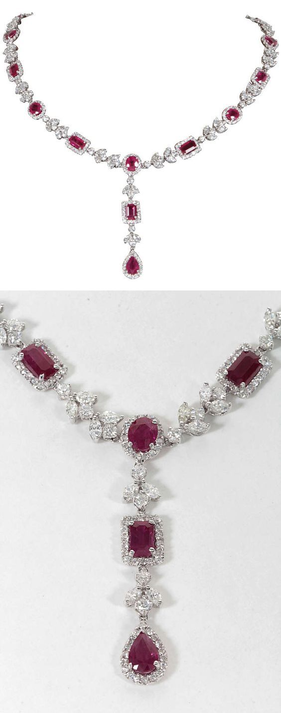 Exquisite Multi-shape Burma Ruby and Diamond Necklace. 20.82 carats of pear, emerald, heart, and oval shaped Burma rubies set with 11.83 carats of diamonds, set in 18k white gold. A gorgeous and unique piece to add to any collection. 21st Century and New.