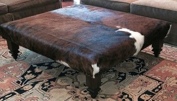 Handcrafted Cowhide Ottoman - Handmade with New Materials - Exotic Tricolor Leather Hide - Footstool - Stool - Furniture - Coffee Table