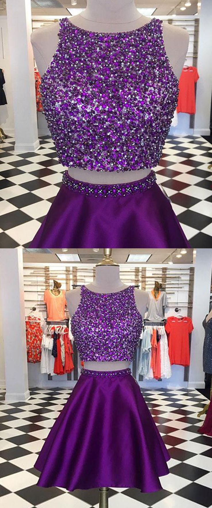 Sequins Prom Dress, Two Piece Prom Dress, Satin Prom Dress, Short Prom Dress For Teens #prom #dresses #homecoming #promdresses #promdress