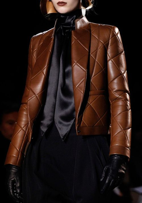 Givenchy tan brown oversized quilted leather tuxedo jacket. Love all of it. Wear it as a suit combo or a very sophisticated driving jacket. Yum.