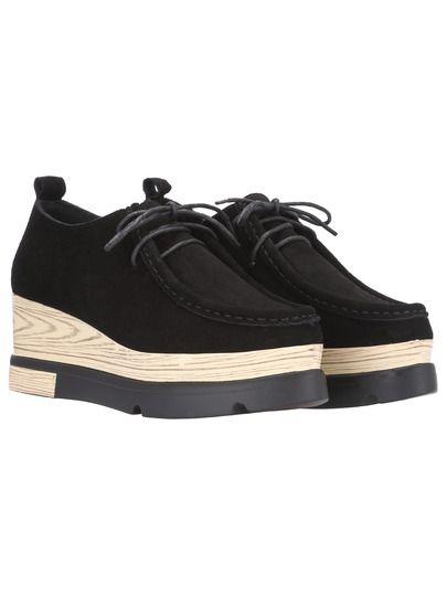 Zapatos con cordón punto -negro