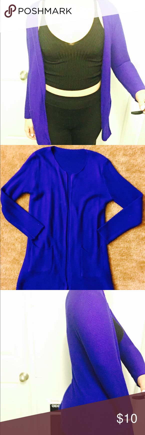 Blue round neck cardigan Super bold and bright royal blue cardigan with two front pockets Sweaters Cardigans