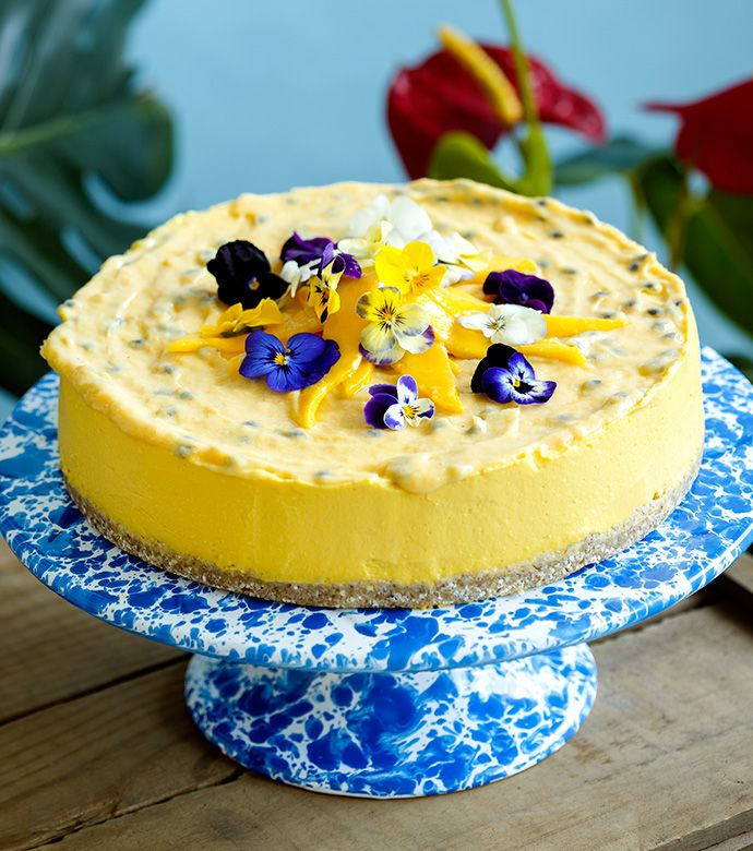 This delicious, soft mousse cake is fresh and light in consistency. Use the ripest mangoes you can find for the best result.