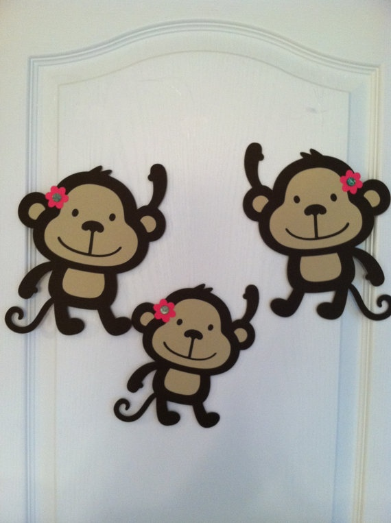Hanging monkey party decorations by PartiesbySandraDee on Etsy, $10.00
