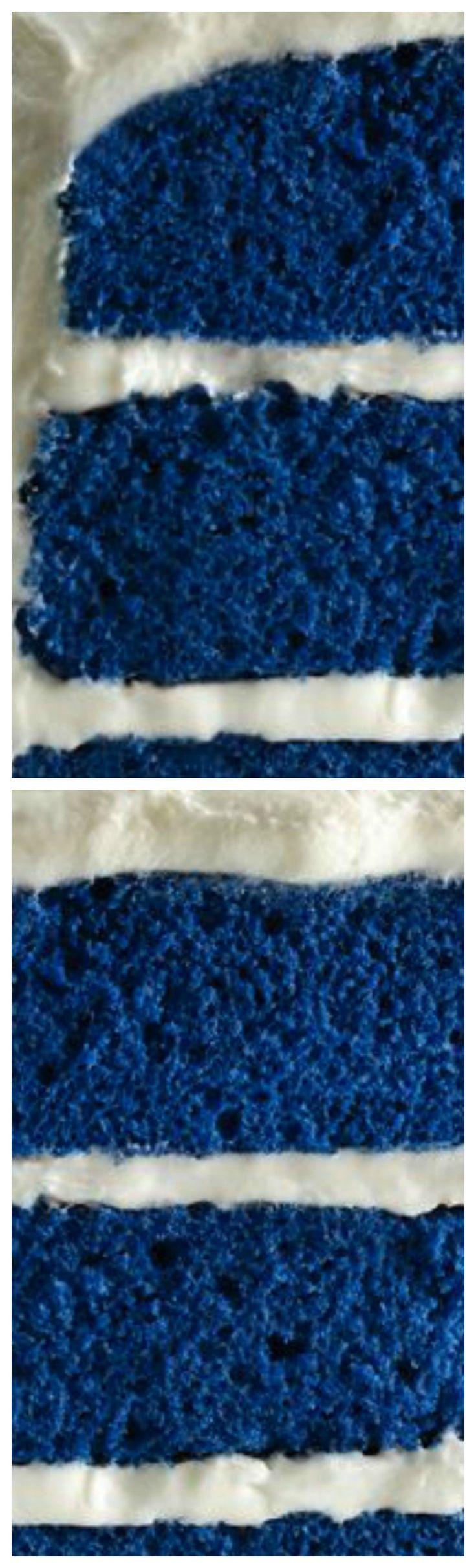 Royal Blue Velvet Cake ~ A new twist on a traditional red velvet cake, inspired by the royal heirloom sapphire engagement ring.
