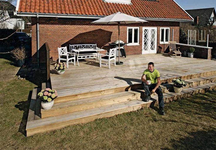 Ønsker du å bygge en terrasse med trapp? Her får du komplett byggebeskrivelse for hvordan du bygger terrasse med trapp.