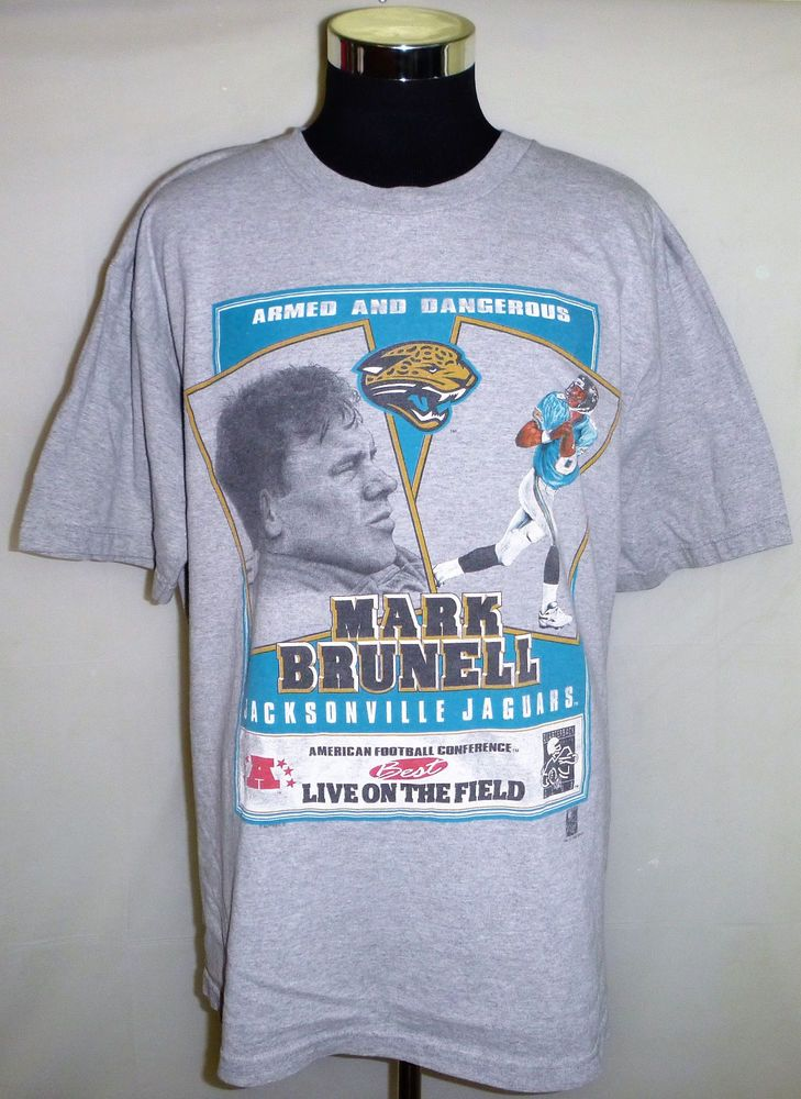 more photos e4f2b ce6a8 Details about jacksonville jaguars mark brunell vintage t ...