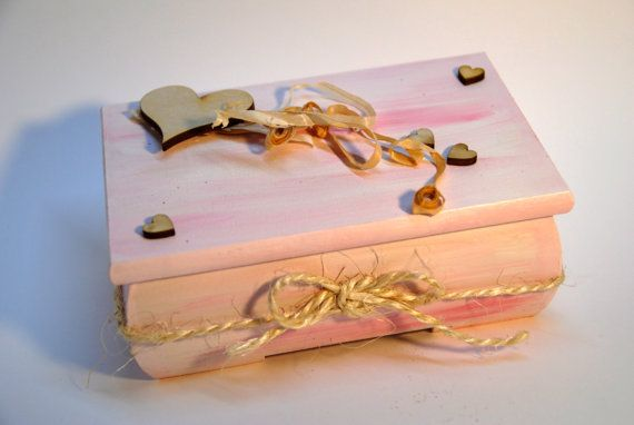 wooden pink suitcase jewelry box unique gift  by VictoriaArtPL