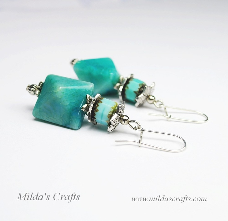 Glass beads, Agate beads, Steel details, Sterling silver (925) earrings hooks. Length: ~ 5,7 cm.    More details:http://www.mildascrafts.com/index.php/lk-02/