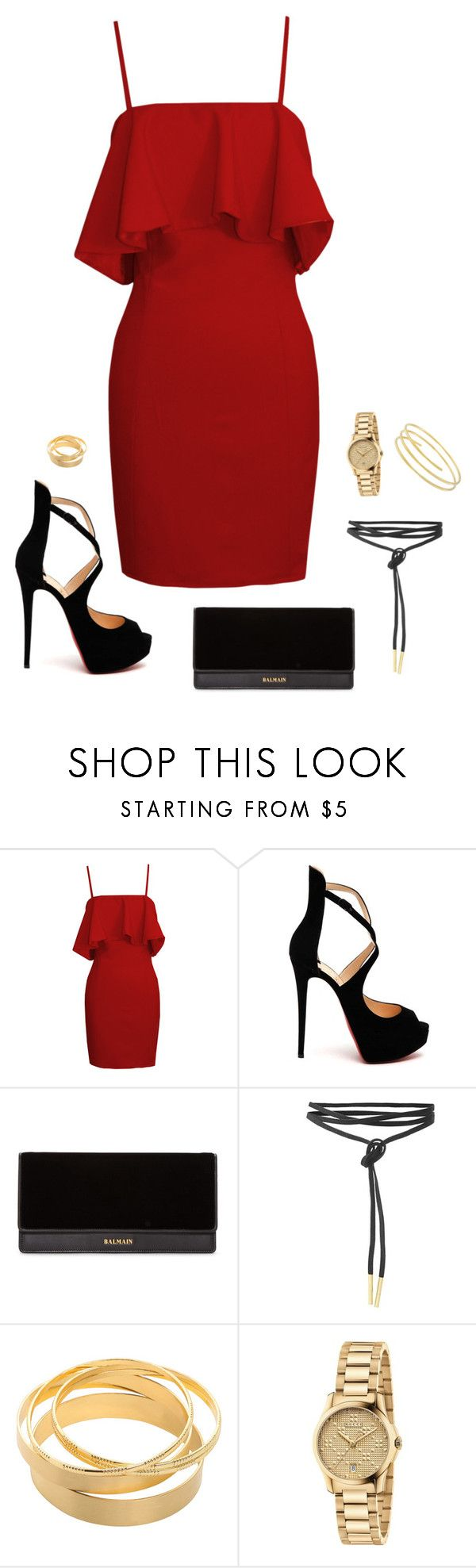 """""""Untitled #626"""" by alwateenhosam on Polyvore featuring Christian Louboutin, Balmain and Gucci"""
