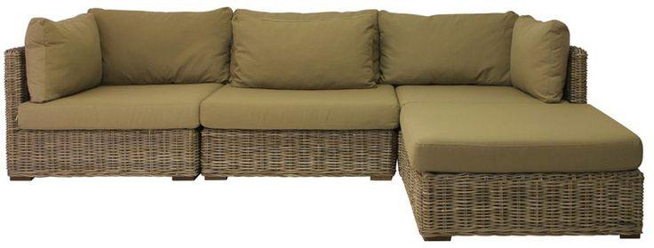 Handwoven weathered grey rattan modular sofa set for indoor braai room.