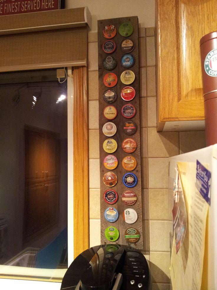 Holder Made From An Old Wooden Pallet Holds 26 K Cups K Cup Holder