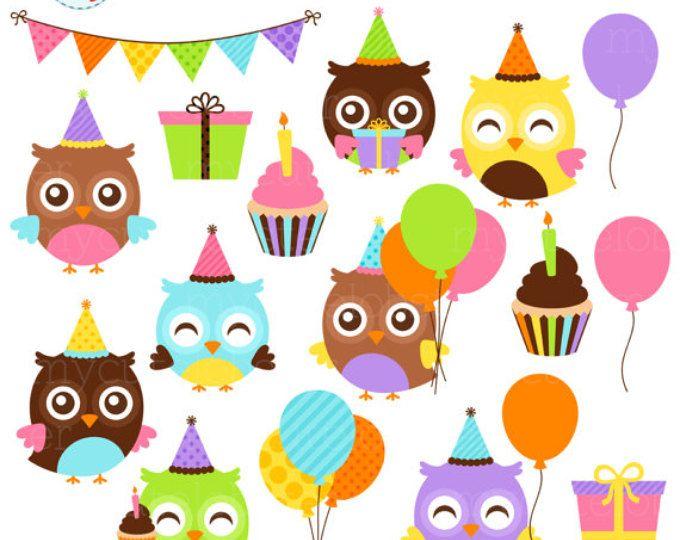 Conjunto de imágenes prediseñadas de cumpleaños buhos - lechuzas partido clip arte conjunto, fiesta de cumpleaños, globos, pastel - uso personal, uso comercial pequeña, descarga inmediata