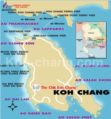 Another koh chang beaches map (with how many minutes to each pier)