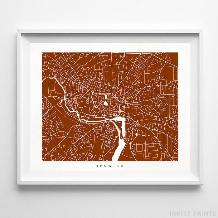 Ipswich England Street Map Wall Art Poster. 70 Color Options. Prices from $9.95. Available at InkistPrints.com - #streetmap#map #homedecor #wallart #Ipswich #England