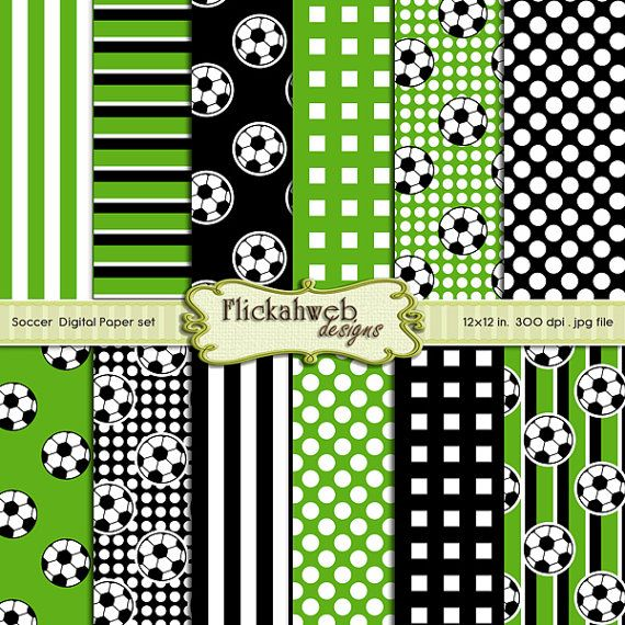 Digital soccer sports papers - 12x12 green Black and white - printable paper designs pack kit