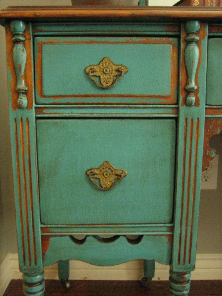 SOLD ~ Pretty Antique Vanity With Mirror Painted In The Ever So Popular,  Striking Turquoise Teal. Chippy Distressed Finish With A Glaze.