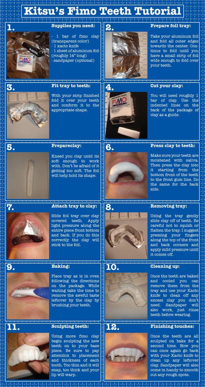 fimo teeth tutorial diy cosplay pinterest teeth