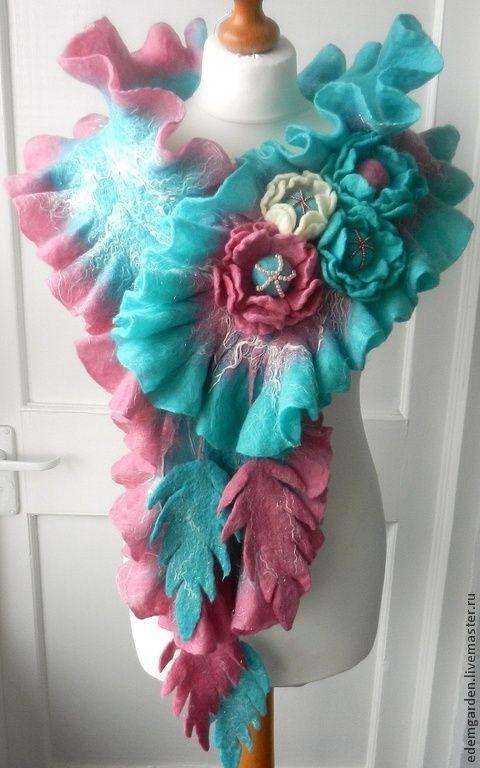 Купить ВАЛЯНЫЙ  ШАРФ и БРОШЬ- шерсть меринос--Бирюзовая  фантазия- - валяный шарф, шерсть для валяния
