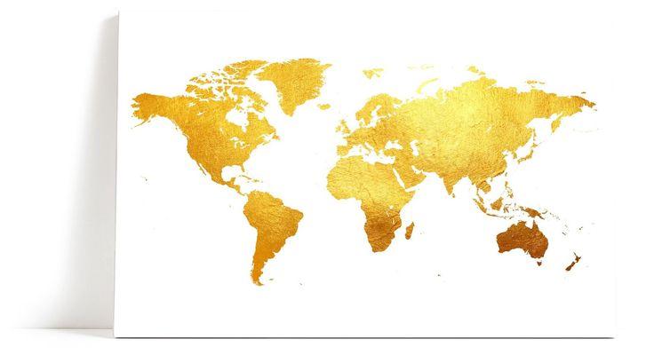 Verdenskart gull Lerret