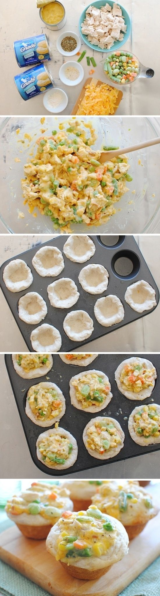 Mini Chicken Pot Pies | 24 Awesome Muffin Tin Recipes.  Will try with GF muffins