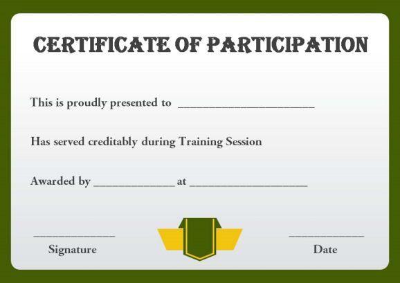 Sample Training Participation Certificate Template