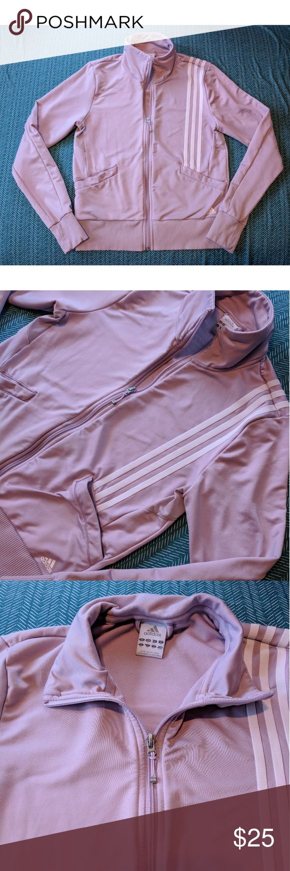 "Soft Purple Women's Adidas Zip Up Sweatshirt Beautiful soft purple jacket from Adidas. Women's size medium, great condition. It has pockets on the front and stripes down the left side front and back. Zipper works well and it is so soft!  22 1/2"" long 16"" wide adidas Tops Sweatshirts & Hoodies"