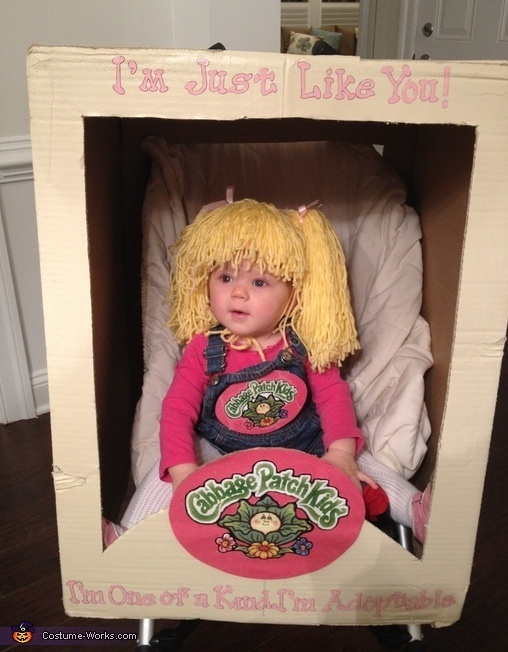 DIY Cabbage Patch Kid Costume - Halloween Costume Contest  Clever idea that could be adapted for other boxed toys...