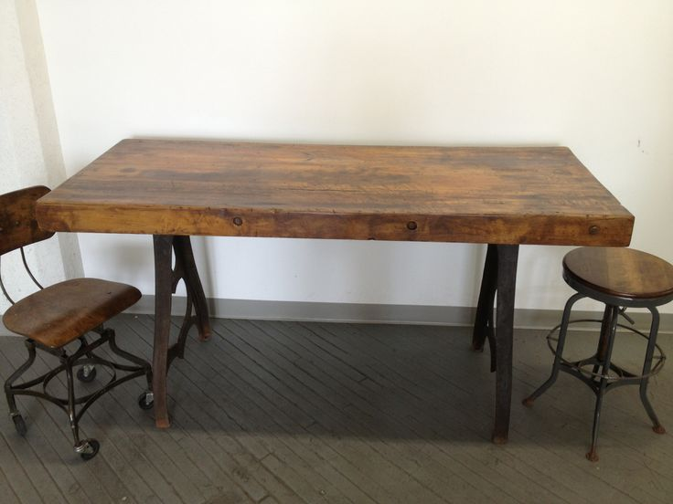 Vintage Industrial Dining Table Cast Iron Bakers Butcher Block Factory 6u0027  Desk