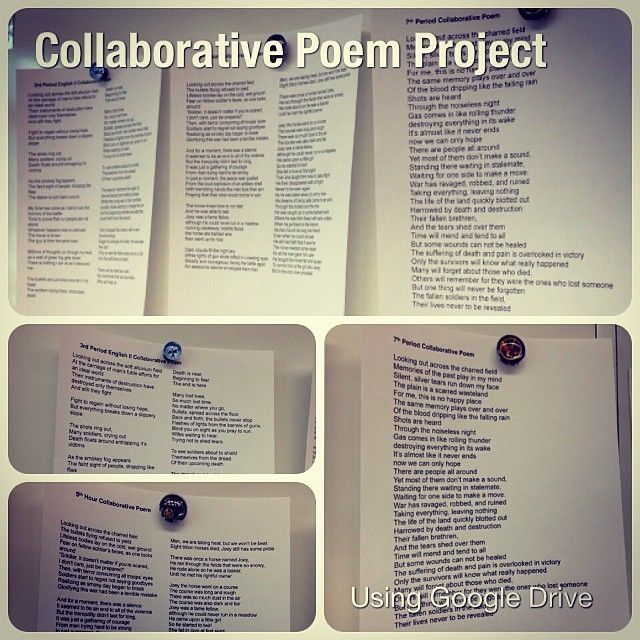 Collaborative Classroom Writing ~ Collaborative poem projects in sophomore english via