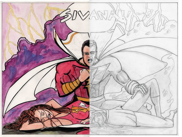Shazam ~ Billy and Mary.  Work in progress for a self made project and proposal.  ~Artist Chris Jennison