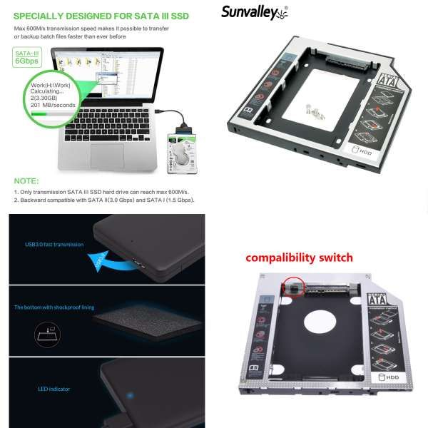 2.5 inch HDD Case SATA to USB 3.0 High Speed Box Hard Drive Enclosure SSD Cover