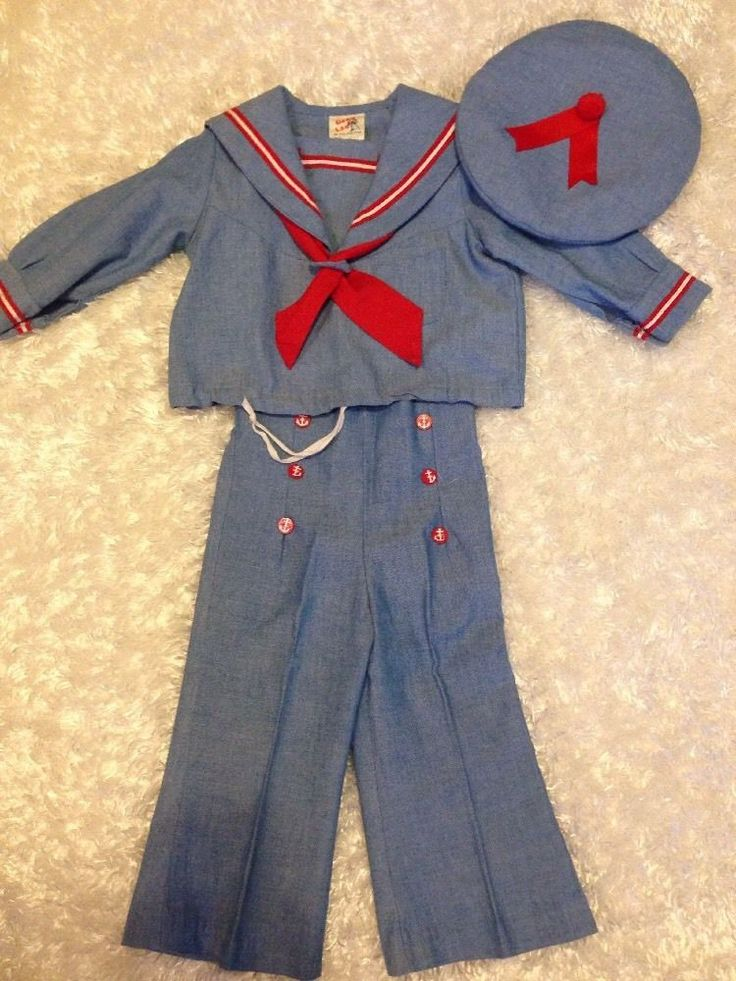 Good Lad Boys Vintage Sailor Outfit Chambray W/red Trim Portrait 3pc SET  2T EUC #GOODLAD #Any