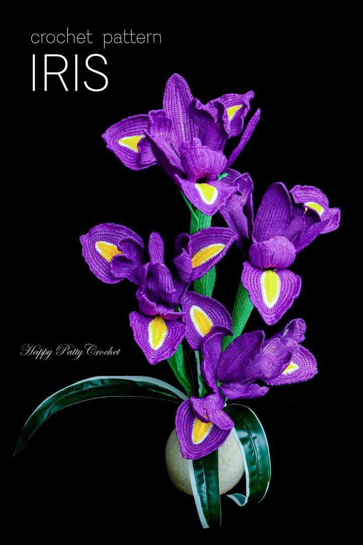 crochet flower pattern for an iris flower by happy patty  iris flower crochet diagram wiring