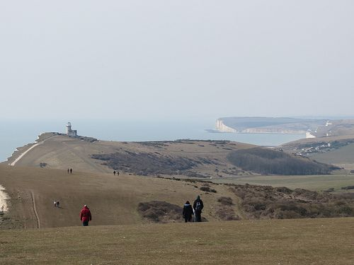 Walk on the Cliffs. Belle Tout Lighthouse with views to The Seven Sisters and Seaford Head, East Sussex.