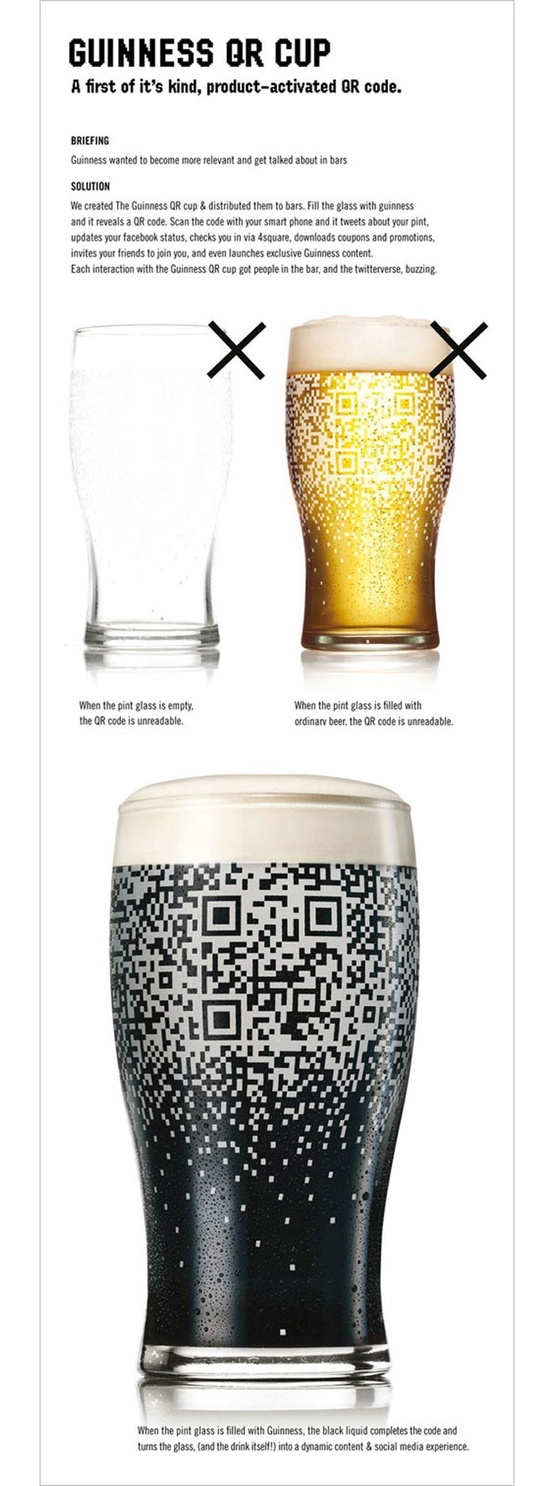 Genialate del marketing.. #Guinness #QRcode Cup