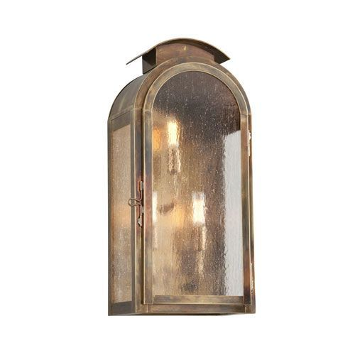 Copley Square Historic Brass One-Light Nine-Inch Fluorescent Outdoor Wall Sconce