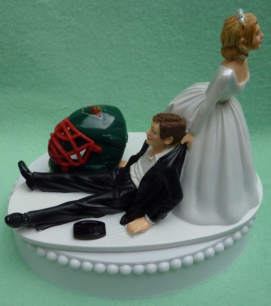 Wedding Cake Topper Minnesota Wild Hockey Themed w/ Bridal Garter Humorous Bride Groom Sports Fans Funny Puck Mask Helmet Reception Gift Top by WedSet on Etsy https://www.etsy.com/listing/116952806/wedding-cake-topper-minnesota-wild