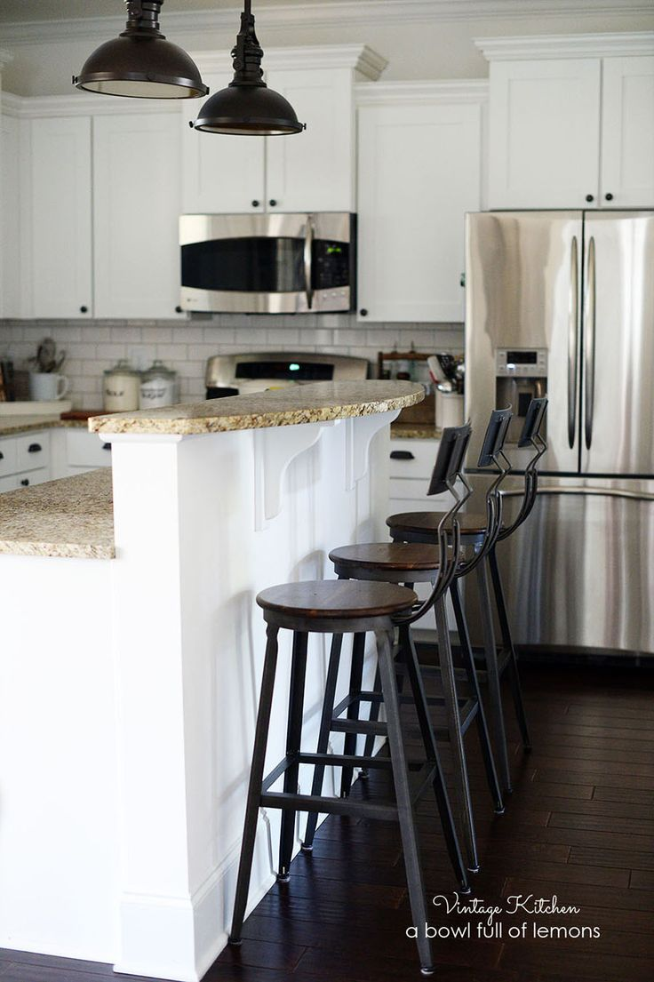 top  best cream bar stools ideas on pinterest  double oven  - how to add vintage style to a builders grade kitchen by a bowl full oflemons