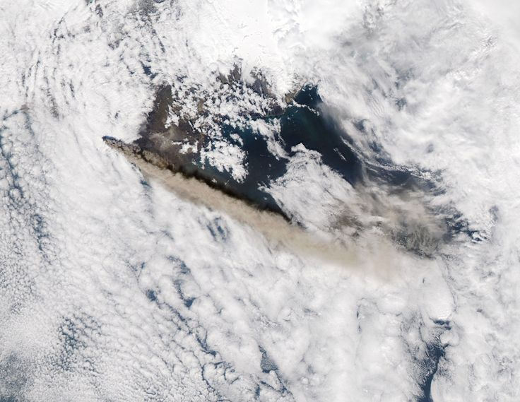 Iceland's Eyjafjallajökull Volcano erupted in 2010, coating Iceland with ash and repeatedly grounding air traffic in Europe. In this image, taken by Aqua on May 12, 2010, the volcano's ash rises above the clouds.