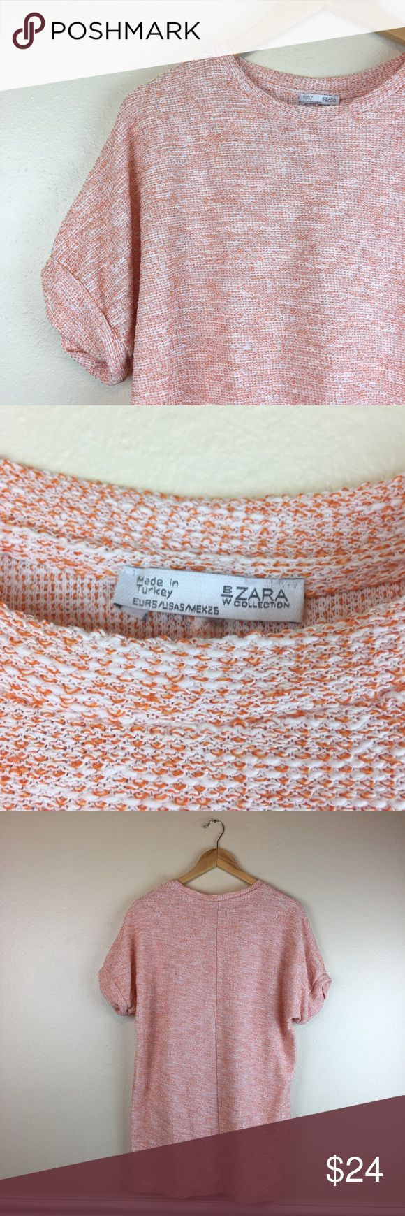 """Zara Women's Short Sleeve Top Orange Size Small Zara short sleeve women's top, size small. Fits like oversized tee.  Measurements:  Bust - 22"""" armpit to armpit laying flat Length - 30"""" taken from back of garment, top to bottom   Great Pre Loved Condition! storage code: E38 Zara Tops Tees - Short Sleeve"""