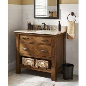 Patmore Mocha Glaze 37-in Undermount Single Sink Bathroom Vanity with Granite Top