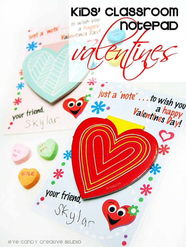 FREE Kids Notepad Valentines - perfect for a noncandy valentines idea! @eyecandycreate #freevalentines #noncandyvalentine #kidsvalentines