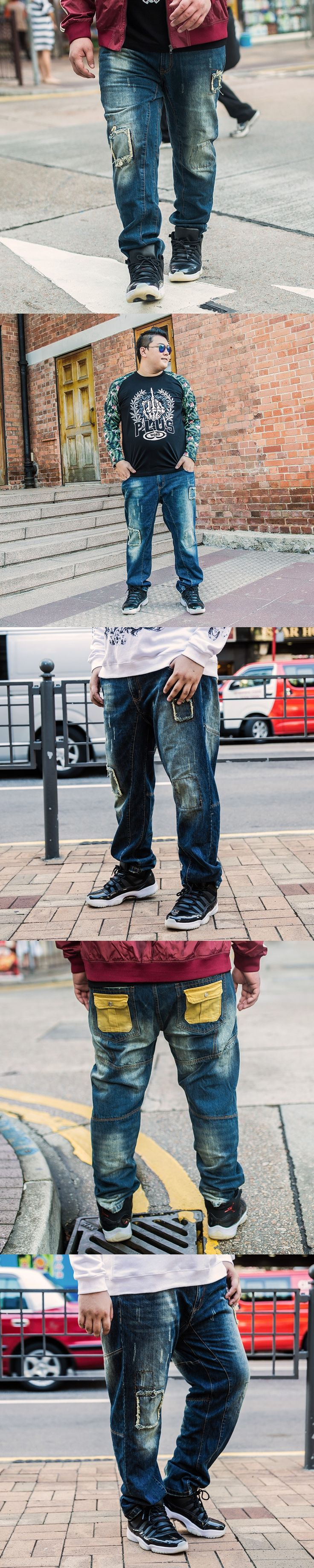 Large Size 48 Mens Straight Distressed Jeans Hip Hop Cargo Jeans Pants Men Baggy Ripped Jeans Homme Big and Tall Brand Clothing