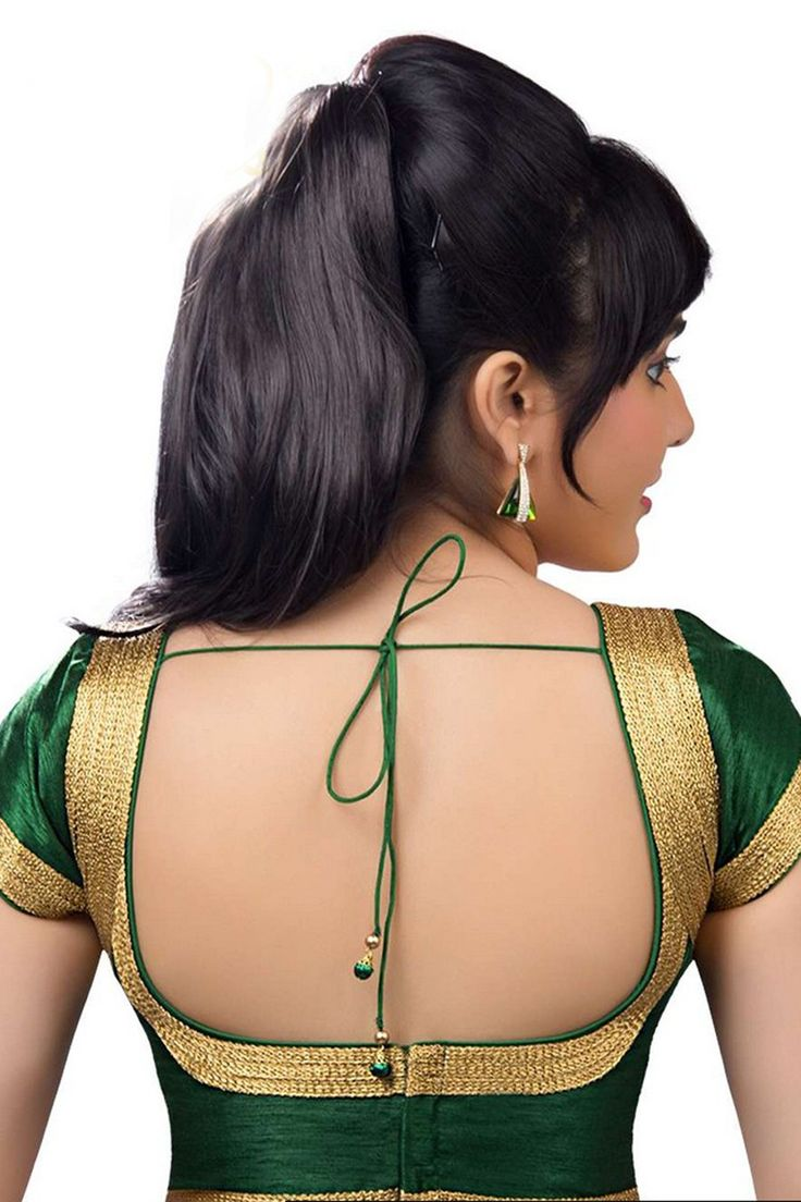 Dark #green casual wear raw #silk #blouse with cap sleeves -BL666