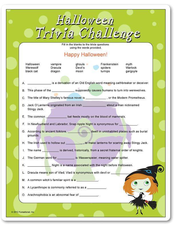 Printable Halloween Trivia Challenge